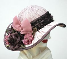 Edwardian Millinery Garden Tea Hat Ribbon Worked Flowers Lilac - product image