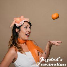 Orange Blossom  Glitter Pin Up Fascinator by JezebelsFascination