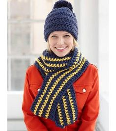 How To Crochet A School Colors Hat and Scarf Set