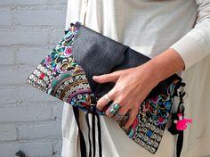 Trendy Tibet etnic boho  embrodery clutch flower by Franellie