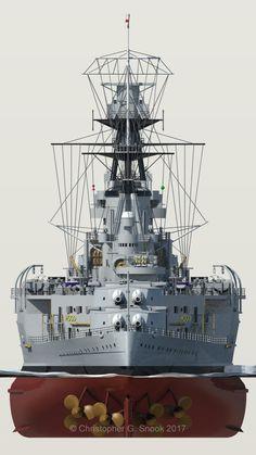 Stern view of a British Royal Navy battlecruiser. Us Battleships, Ww2 Propaganda Posters, Ship Tracker, Hms Hood, Military Drawings, Naval History, Navy Ships, Aircraft Carrier, Model Ships