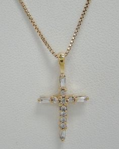 """GOLD OVER 925 STERLING SILVER PENDANT 18"""" CHAIN NECKLACE CUBIC ZIRCONIA CZ CROSS…"""