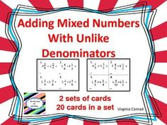 Is it time to teach or review adding mixed numbers with unlike denominators? These sets of task cards will help you do just that! There are two sets of cards with 20 cards in each set. There is also a student response sheet for each set of cards. Answer keys are included Be sure to browse through my store to see what other items I might have to help meet the curriculum needs of your class.
