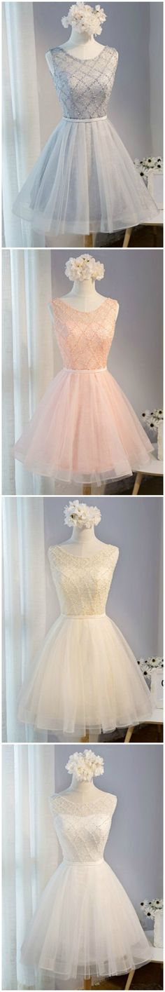 Princess Ball-gown Scoop Neck Short Tulle Homecoming Dress With Beading #homecomingdresses