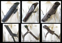 Deluxe Quiver by *ArtisansdAzure on deviantART. The main difference here is the baldric types. All have pros and cons, though I'd personally pick b or c. Deviant Art, Leather Braces, Fantasy Craft, Armadura Medieval, Archery Equipment, Archery Hunting, Archery Quiver, Traditional Archery, Leather Armor