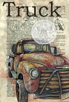 6 « x 9 » Print original, le dessin technique mixte sur Distressed, dictionnaire Page ce dessin dun camion Pick-up de Chevrolet 1955 est dessiné à lencre sépia et créé avec pastel et coloré crayons sur une page en détresse dun dictionnaire qui contient la définition de « Camion ».