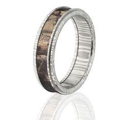 6mm RealTree AP Camo Rings, AP Camo Bands, Damascus Steel Camo