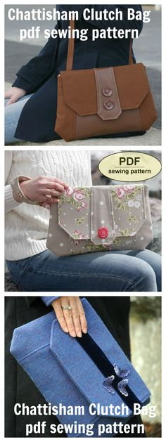 This is a PDF sewing pattern for The Chattisham Clutch Bag, a versatile design in an understated 1940s style that can be made with either a wrist strap or a simple long strap. Ideally made in two or more contrasting fabrics, the Chattisham Clutch Bag is a sensible size for day wear but also makes up well in fancy fabrics for evening wear.