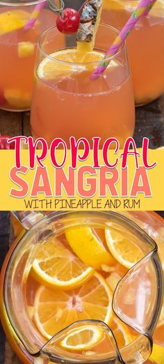 Tropical Sangria is an easy and refreshing white wine sangria recipe with coconut rum! Use your favorite fruit to make this into a fun tropical cocktail!
