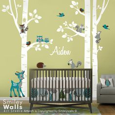 Birch Trees Wall Decal Forest Trees Wall Decal by smileywalls
