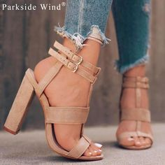 We\'re loving this chunky heel sandal with double ankle buckles. These are great for dresses or with jeans for the summer and early fall. Make sure to pack these in your bag for back to college! The colors are a nude/ivory and navy blue. Material is faux suede. Heel height is high (5-8cm). Please keep in mind, seller is located in China and item could take up to 3 weeks for delivery. Seller does accept refund requests if item is not as described. Donation - 10% Non-Profit - Empower 5...