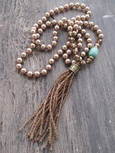 Pearl tassel necklace Bronzed Beauty metallic by slashKnots