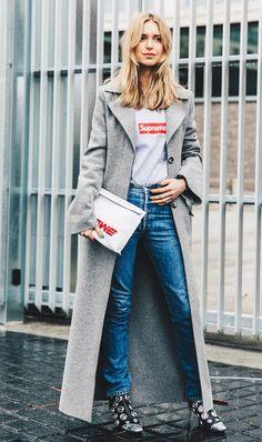 Jeans + Tee + Long Coat