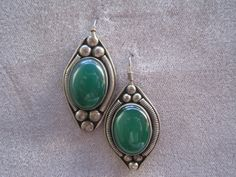 Vintage Sterling Silver Earrings with Green Onyx by BALIARTWORKS,