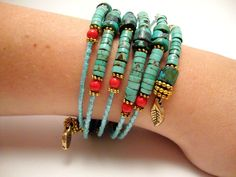 Turquoise and Coral Beaded Bracelet Memory Wire: