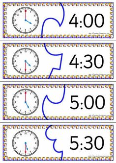 Telling time puzzles - printable puzzles for teaching time - includes 3 levels, digital, analog and words matching.