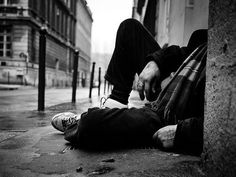 Homeless , loneliness , alone people, poor, poverty, black and white