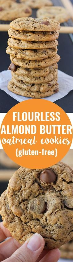 Gluten-free and made with pantry…Flourless Almond Butter Oatmeal Cookies! Gluten-free and made with pantry… Dessert Sans Gluten, Low Carb Dessert, Gluten Free Sweets, Gluten Free Baking, Dairy Free Recipes, Whole30 Recipes, Paleo Dessert, Egg Recipes, Recipies