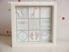 A frame decorated by Sweden for birth . Baby Wall Decor, Nursery Room Decor, Collage Frames, Box Frames, Baby Presents, Baby Gifts, Nursery Frames, Christmas Shadow Boxes, Baby Letters
