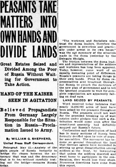 WWI, 12 May 1917; Russian peasants have seized almost 15 million acres of land, some at the behest of German agitators -Russia in Revolution (@revoltingrussia) | Twitter