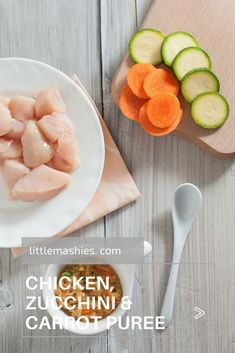 Little Mashies Chicken, Zucchini & Carrot Puree - Printable recipes for Little Mashies baby food pouches and healthy kids snacks Informations About Chicken Zucchini & Carrot Baby Puree Pin You can eas Meat Baby Food, Chicken Baby Food, Healthy Baby Food, Healthy Snacks For Kids, Kid Snacks, Thai Chicken, Baby Puree Recipes, Pureed Food Recipes, Baby Food Recipes