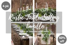 Rustic table setting Bundle by Marine Girl shop on Rustic Table, Wooden Tables, Rustic Decor, Vintage Plates, White Candles, Green Colors, Table Settings, Place Card Holders, Table Decorations