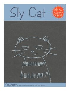 Mom, this would be cute on a onesie.   Sly Cat embroidery pattern - free