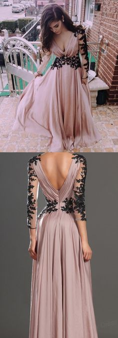 2017 V-Neck Evening Dress,Appliques Satin Prom Dress,Long-Sleeve Prom Dress, Dresses For Evening,Sexy Floor-Length Prom Dresses,Long Prom Dresses