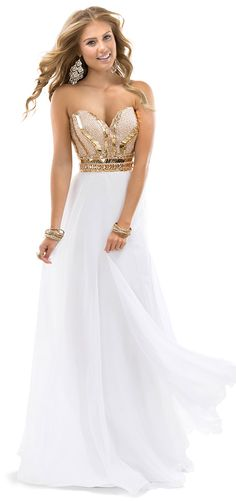 Rose gold and white evening dress with elegant skirt and copper beading on bodice by Flirt Prom