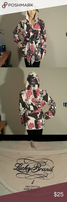 Lucky Brand Hooded Wrap Floral print french terry jacket . Hooded with raw edged seams and sleeves . Super comfy . In excellent condition. Lucky Brand Jackets & Coats