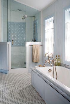 House of Turquoise: Sea Meets Sky Bathroom Colors, Small Bathroom, Master Bathroom, Bathroom Ideas, Modern Bathroom, Turquoise Bathroom, Relaxing Bathroom, Shower Bathroom, Master Shower