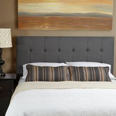 Humble + Haute Sussex Grey Linen Queen Tufted Upholstered Headboard | Overstock.com Shopping - Big Discounts on Headboards