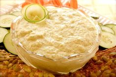 Raw Food Recipe: zucchini cucumber humus. Ingredients: zucchinis, cucumber, tahini, lemon, garlic, salt & peppr