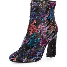 Roger Vivier Sequined Chunky-Heel Bootie (3,158 CAD) ❤ liked on Polyvore featuring shoes, boots, ankle booties, multi colors, short boots, round toe ankle boots, high heel boots, high heel bootie and sequin booties