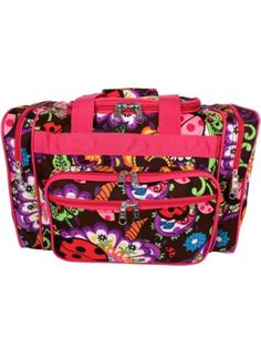 "17"" Ladybug Garden Duffle Bag with Hot Pink Trim"