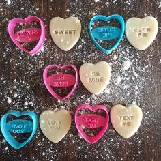 Valentine's Day is coming! What valentine wouldn't love to receive a bunch of cookies made with these BRAND NEW cookie cutter stamps? Adding some dye to your co Heart Cookie Cutter, Heart Cookies, Cookie Cutters, Converse With Heart, Baking Tools, Bake Sale, Cookie Decorating, Kids Meals, Cake Toppers