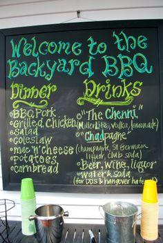 Couples Shower - Backyard BBQ Chalkboard menu display