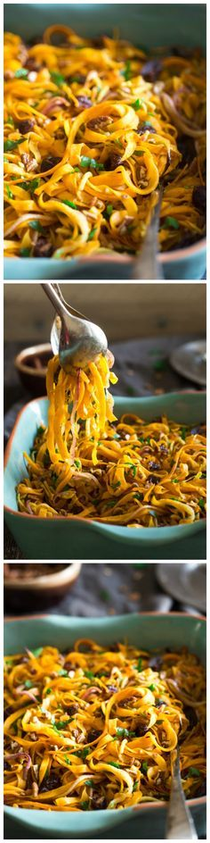Paleo & Vegan Curried Maple Spiralized Apple and Butternut Squash Salad - This salad is full of apples, dates and pecans. It has a spicy-sweet flavor and is a healthy, paleo and vegan friendly side dish! Perfect for Thanksgiving!
