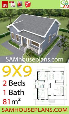 House Plans with 2 Bedrooms Gable Roof The House has:-Car Parking and garden-Living room,-Dining Bedrooms, 1 bathroom Simple House Plans, New House Plans, Rm 1, Gable Roof, Garden Living, House Roof, Home Interior Design, House Tours, New Homes