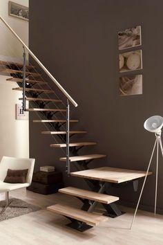 escalier moderne tout metallique metal bois limon central 1 escalier pinterest more. Black Bedroom Furniture Sets. Home Design Ideas