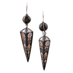 """Victorian Tortoise Shell Silver and Gold """"Pique"""" Earrings"""