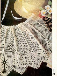 Arte e croche: Avental Filet Crochet, Crochet Motifs, Crochet Quilt, Crochet Dishcloths, Crochet Chart, Crochet Home, Thread Crochet, Crochet Doilies, Crochet Baby