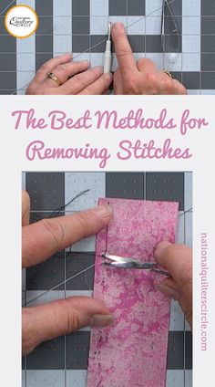 When it comes to sewing and quilting, stitching mistakes can happen, especially ones where the only fix is to rip out the stitching. ZJ Humbach shares a few ways to remove stitches, including showing how to remove stitches without a seam ripper, and a way that she considers the best way to remove stitches, which is a method that protects the fabric as much as possible. Sewing Tips, Sewing Hacks, Sewing Tutorials, Sewing Ideas, Sewing Projects, Quilting Tips, Quilting Tutorials, Quilt Patterns Free, Sewing Patterns