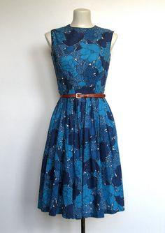 SOLD / #Vintage 1950 - 60s Blue Floral Print Sleeveless Dress / Sundress by VelouriaVintage, $48.00