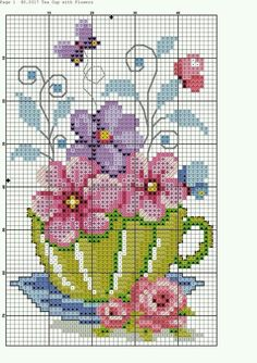 "Punto cruz ""flowers in tea cup cross stitch pattern"", ""Teacup and Butterflies cross stitch"", ""nice cup of."", ""This post w Cross Stitch Cards, Counted Cross Stitch Patterns, Cross Stitch Designs, Cross Stitching, Cross Stitch Embroidery, Embroidery Patterns, Hand Embroidery, Butterfly Cross Stitch, Cross Stitch Flowers"