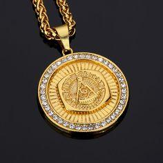 Men's Fashion Jewelry Freemason Pendant Necklace Zinc Ally Free Mason Pendants Gold Plated Hip Hop Antique Charm Masonic NYUK