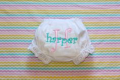 Monogrammed Infant Diaper Cover Bloomers - Newborn - Baby Girl - Gift - Personalized by SBMonograms on Etsy
