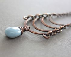 Egyptian copper necklace with cascade and blue by IngoDesign, $36.00
