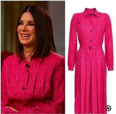 Sandra Bullock's Pink Dress on Today On Today, Today Show, Jenna Bush Hager, Hoda Kotb, Sandra Bullock, Pink Dress, Shirt Dress, Shirts, Dresses