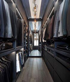 Walk in closet (bedroom Walk In Closet Design, Bedroom Closet Design, Master Bedroom Closet, Closet Designs, Home Decor Bedroom, Wardrobe Room, Walk In Wardrobe, Dressing Room Design, Men Closet